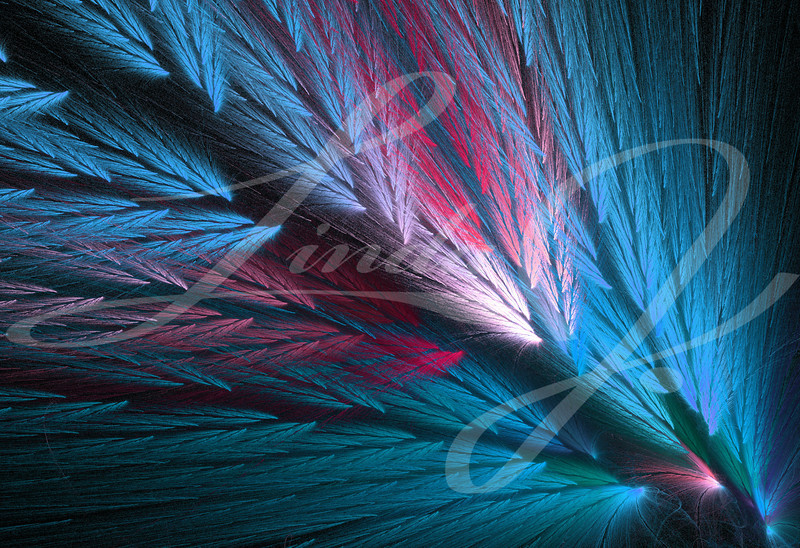 Pink and blue, or teal or aqua colored feather fractal shaped similar to parrot wings.