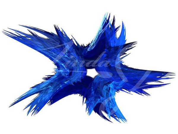 Patriotic swirling blue fractal star on a white background.