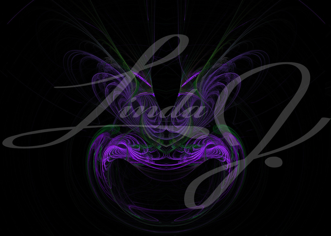 A purple mask or face shaped fractal on a black background with feathered eyebrows.