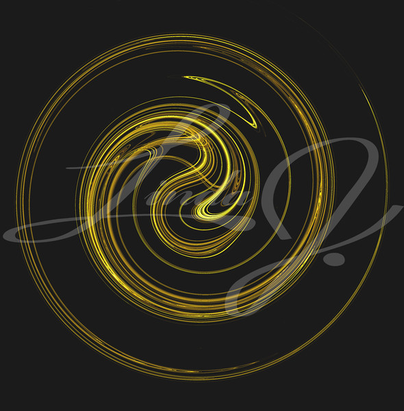 The motion of something gold and yellow spiraling or swirling on a black background.