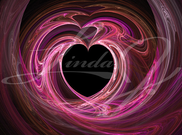 A black heart surrounded by swirls of pink and purple.
