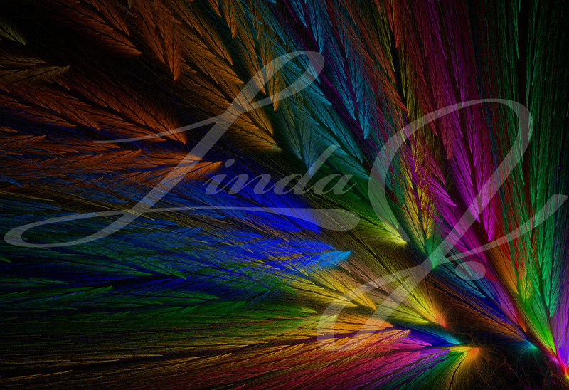 Multi-colored feather fractal with colors similar to a parrot.