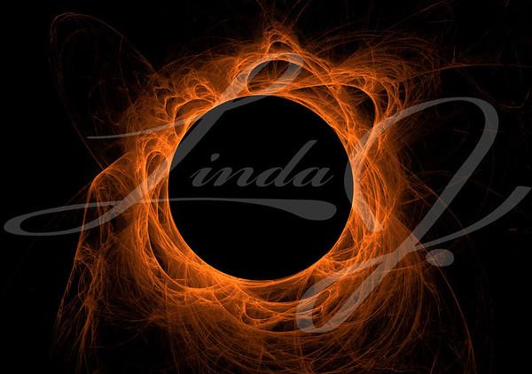 Orange fractal eclipse with solar flares on a black background.