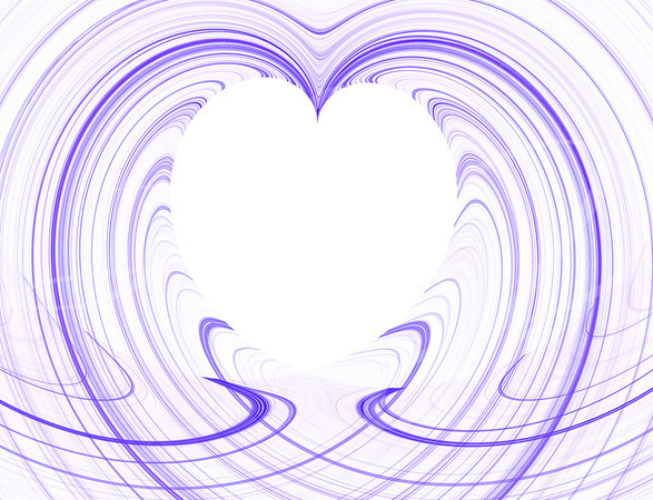 White Heart Copy Space surrounded by purple fractal design.