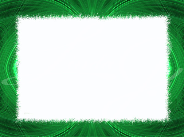Green fringe fractal border with white copy space.