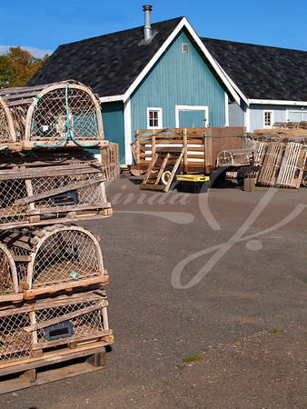Fishing shacks on the wharf with lobster traps stacked in front with space for copy.