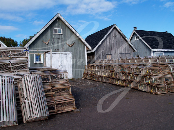 Fishing Shacks on the wharf with lobster traps stacked in front of them.