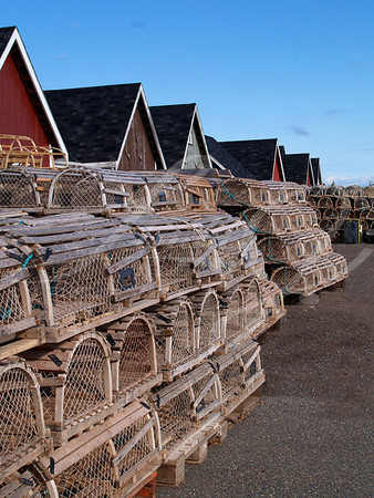 Lobster traps stacked on the wharf beside fishing shacks.