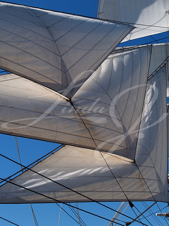 "Sails--Sails of the majestic ""Star of India"" that is moored at the ""Maritime Museum"" in San Diego, California."