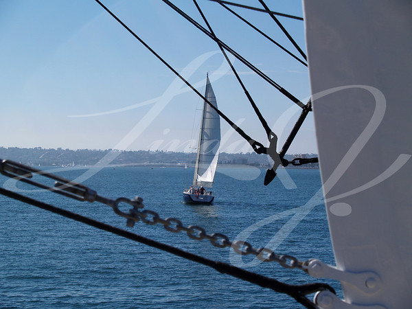 "Sailing Through The Ropes--Sailboat as seen through the ropes of the ""Star of India""."