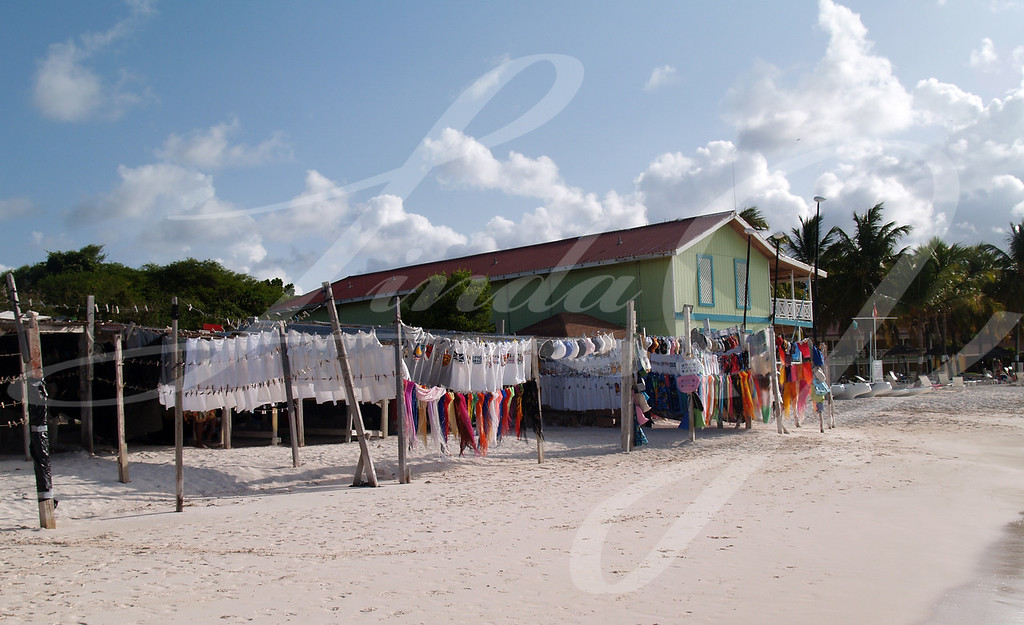 Seaside market on Long Bay beach off the Atlantic Ocean on Antigua Barbuda in the Caribbean Lesser Antilles West Indies.