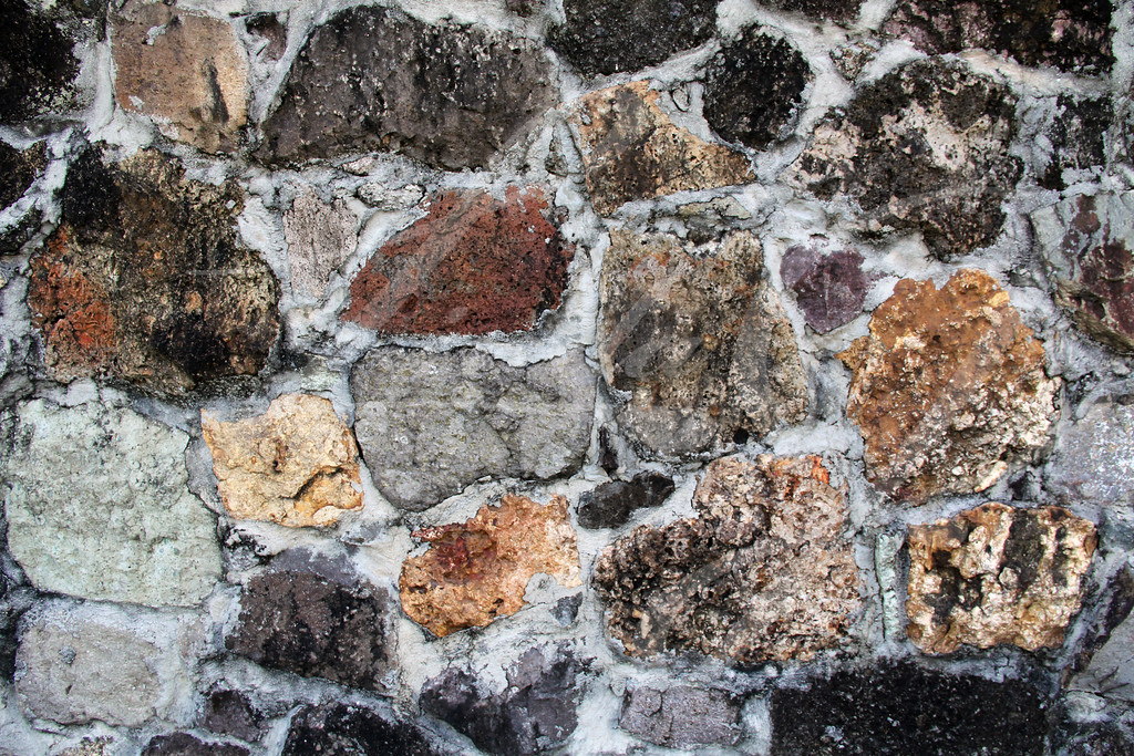 Unusual Stone Wall of Various Shapes Colors and Sizes