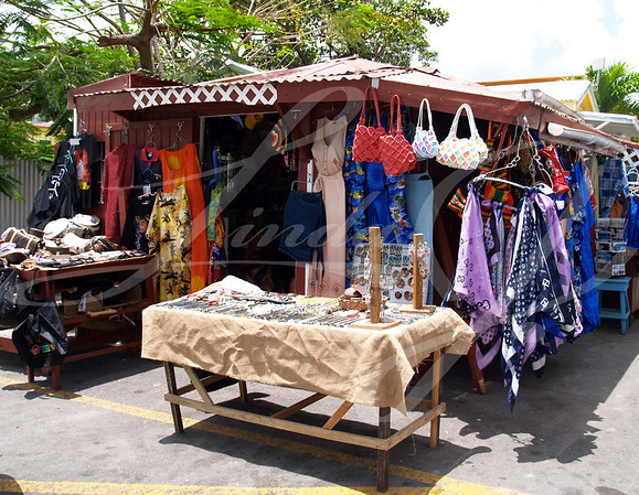 Colorful, roadside shop in Antigua Barbuda in the Caribbean Lesser Antilles West Indies.