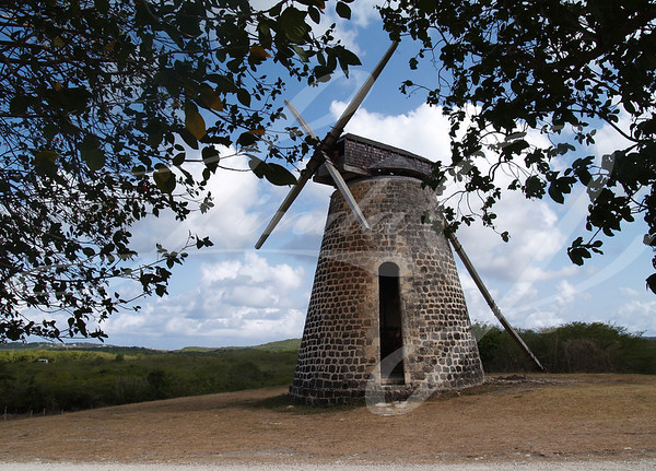 Old windmill on Bettys Hope Plantation near Seatons, Pares on Antigua Barbuda in the Caribbean Lesser Antilles West Indies.
