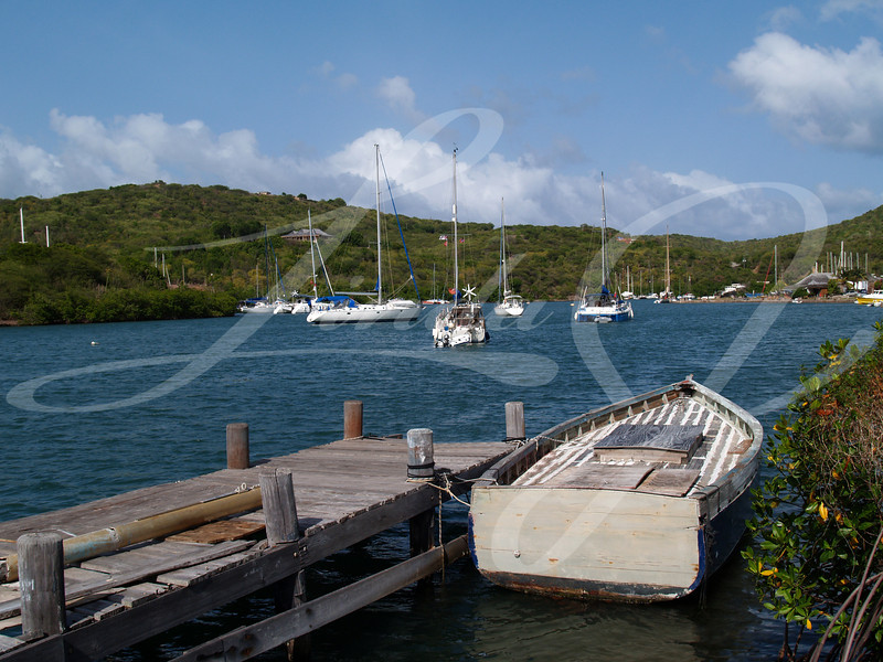 Boat dock on English Harbour in Nelsons Dockyard National Park, on Antigua Barbuda in the Caribbean Lesser Antilles West Indies.