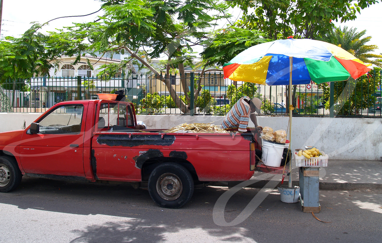 Editorial Only, No model release available---Man selling fruit from the back of his truck under an umbrella in Antigua Barbuda in the Caribbean Lesser Antilles West Indies.