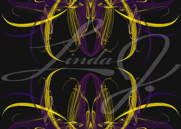 Continuous fractal background pattern in the shape of flower buds in shades of yellow and purple.