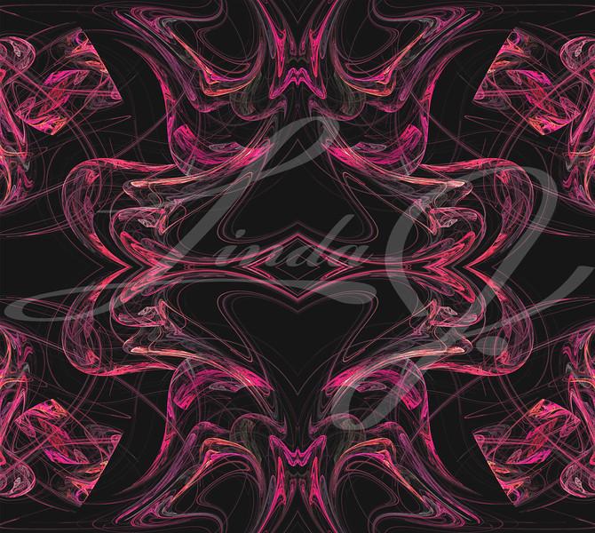 Continuous fractal textile pattern in pinks on a black background.