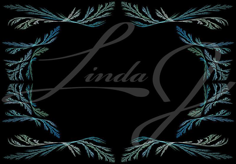 Leafy aqua or teal fractal frame or border with black copy space.