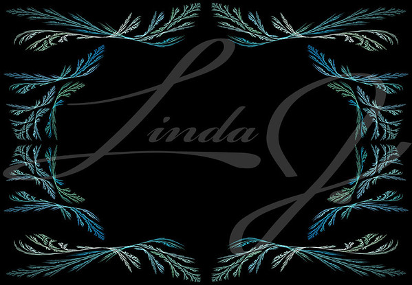 Leafy aqua or teal fractal frame or border with black copy space.