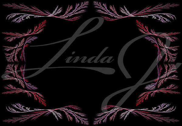 Leafy pink, red and lavender fractal frame or border with black copy space.