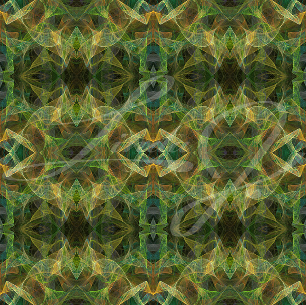 Seamless abstract fractal wallpaper, textile pattern or background in multi-colors of greens and golds.