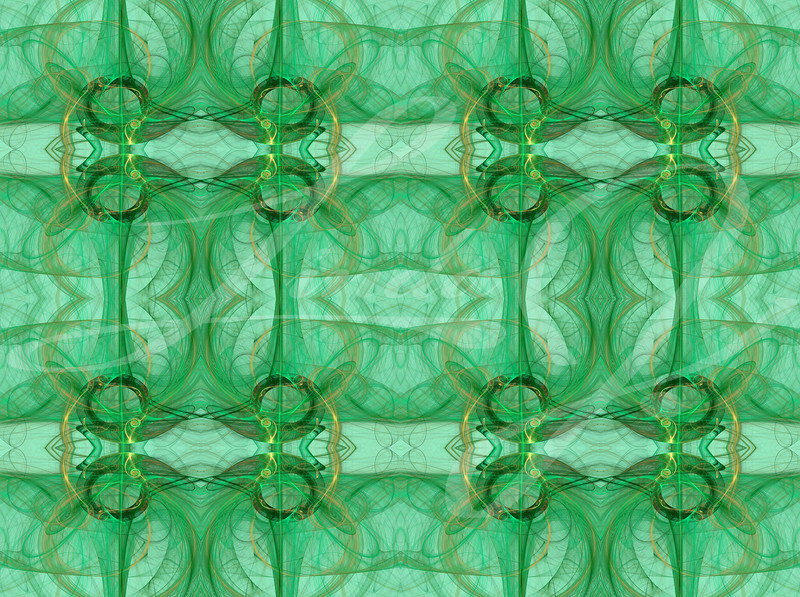 Seamless abstract fractal wallpaper, textile pattern or background, in green, mint green and gold or tan.