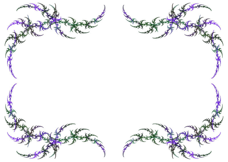 Mardi Gras colored fractal frame with green and purple over a white copy space.