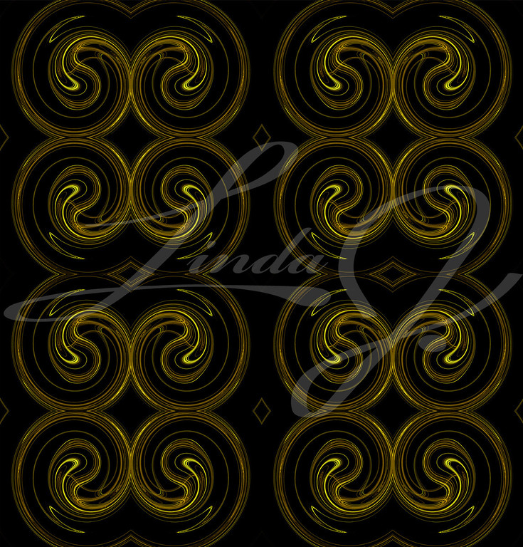 Seamless continuous background, textile pattern or wallpaper in yellow and brown on a black background that looks like rams horns.