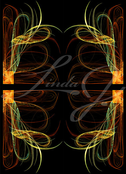 Continuous fractal design in greens, golds and orange on a black background.