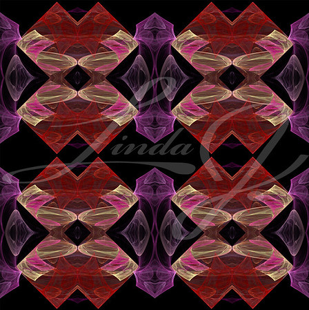 Seamless continuous background, textile pattern or wallpaper in lavender, red, pink and beige on black