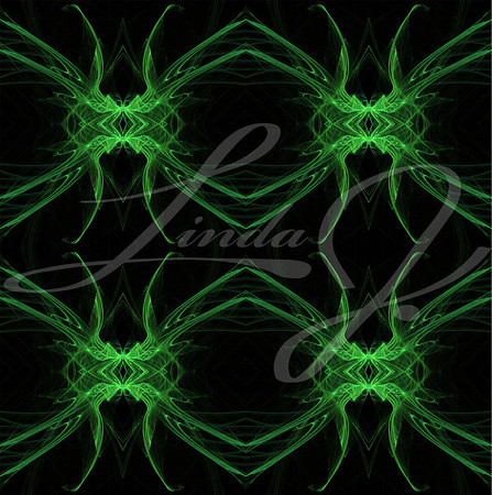 Seamless, continuous background, textile pattern or wallpaper in green and black with the look of a spider or all-seeing eye, designed for continuous repeating.