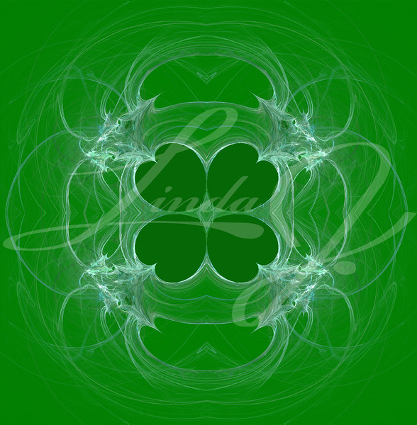 Green and white, seamless clover abstract fractal wallpaper, textile pattern or background design.that can be used for St. Patrick's Day.