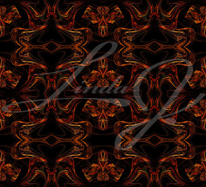Seamless wallpaper, textile pattern or background in multi-colors on a black background.