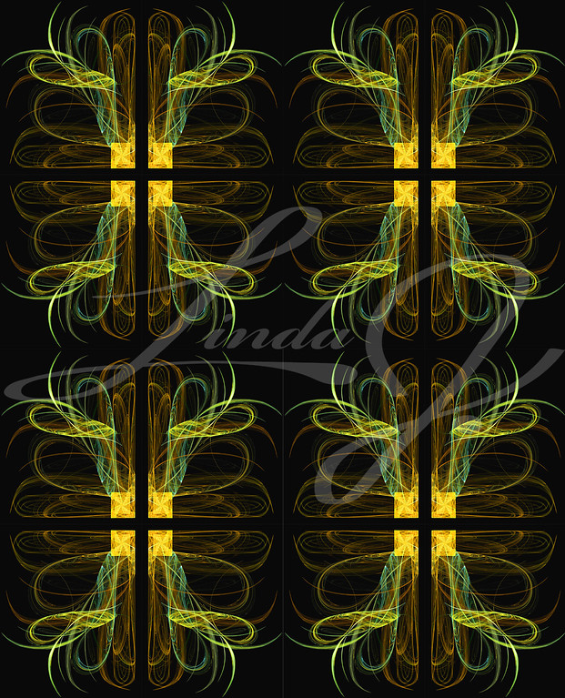 Seamless wallpaper, textile pattern or background in yellows, golds and browns on a black background.