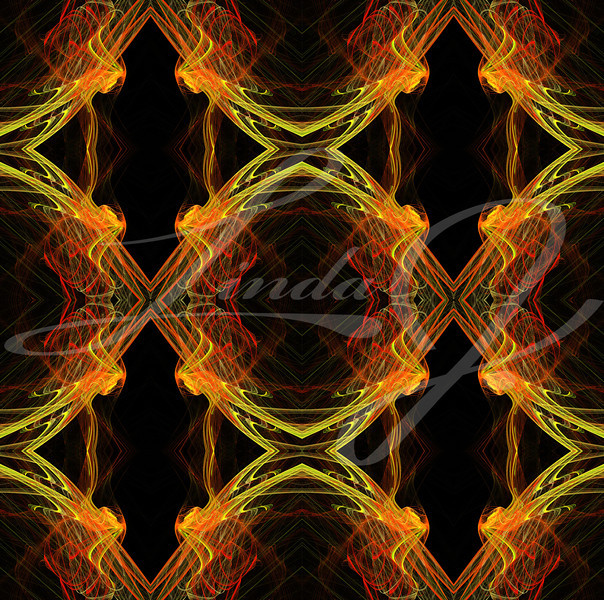 Seamless, continuous background, textile pattern or wallpaper in yellow, orange, red and black containing diamonds designed for continuous repeating.
