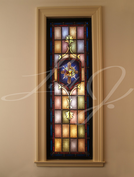 Stained Glass Window--Stained glass window with cross