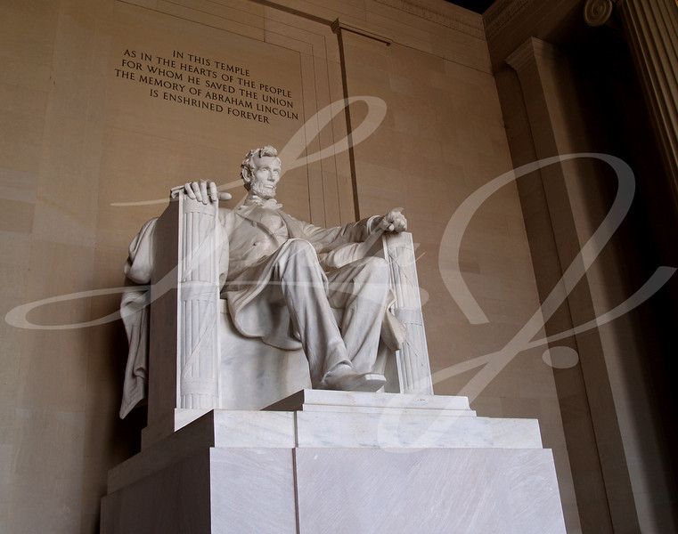 Statue of Abraham Lincoln in the Lincoln Memorial in Washington DC.