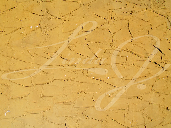Rough textured concrete or stucco exterior wall painted a gold color.