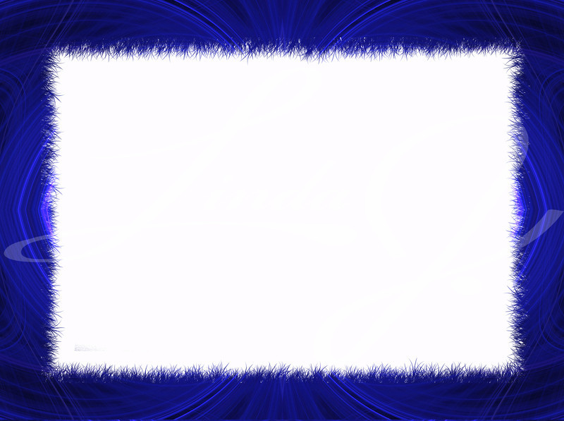 Blue Fractal Border with White Copy Space.