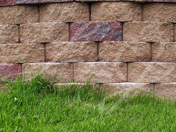 Green grass alongside multi-colored blocks on a retaining wall.