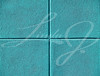 Four teal or aqua blue squares on a concrete wall, powerpoint background and copy space.