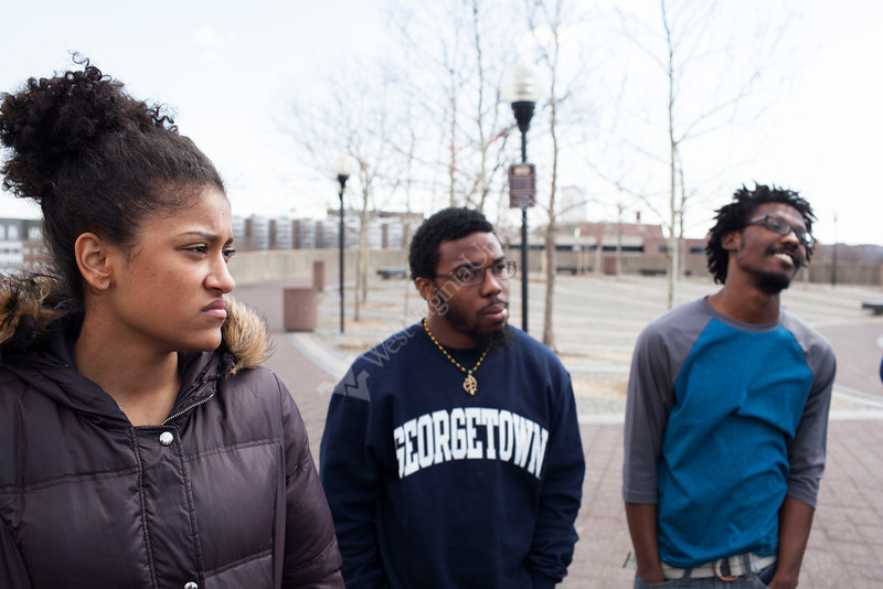 WVU students Takara Robinson, Antoine Christopher, and Nicco Hamby  tour Benjamin Banneker Park during WVU's Center for Black Culture and Research trip during in Washington D.C.<br /> <br /> Photo by Raymond Thompson