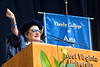 Eblery College honorary degree recipient Jayne Ann Phillips addresses  graduates May 14, 2017. At the Eblery College Commencement. Photo Greg Ellis