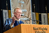 WVU College of Business and Economics Honorary Degree recipient Donald E. Panzo address graduates, families and friends at the college's commencement May 13, 2017. Panoz and Milan Puskar formed Milan Pharmaceuticals, which would later be renamed Mylan. Photo Greg Ellis