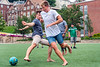 Felix Gueuther Economics major from Germany (L) and Matt Drahhle PETE from England (R) play soccer at the  WVU international student body picnic on the Lair green August 11, 2017. Photo Greg Ellis