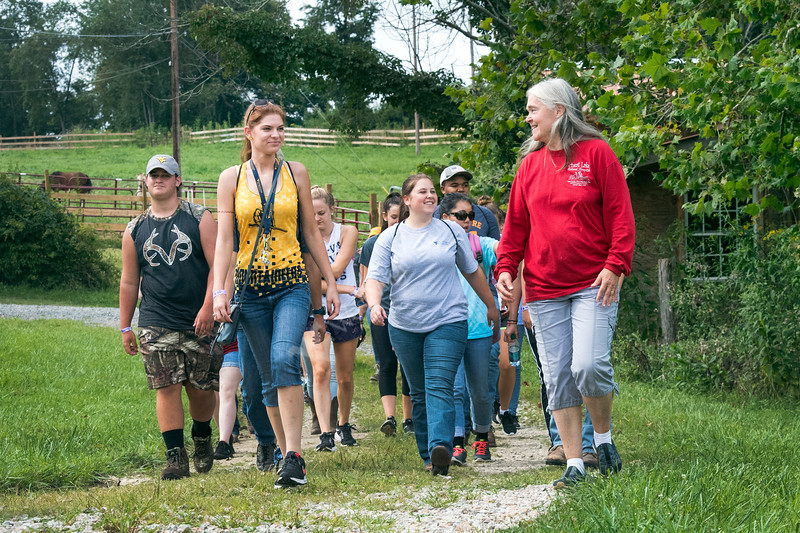 WVU incoming freshmen students participated in a day of service at the Animal Human Bond - Ridgedale Educational Farm Cheat Lake WV , August 8, 2017. Photo Greg Ellis