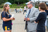 WVU Freshmen Amber Rush Psychology Morgantown WV speaks with  Gregory Dunaway, Ph.D. Dean of the Eberly College of Arts and Sciences and Valerie Lastinger, Ph.D. at the Academic Session on the Mountainlair Green August 14, 2017. Photo Greg Ellis