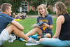 WVU Freshmen students (L to R) Cole Cochran Chemistry Princeton WV, Faith Myers Forensic Science Columbus OH and Caitlin Slone Columbus OH Chemistry Forensic Science talk about the day and future studies  at the Academic Session on the Mountainlair Green August 14, 2017. Photo Greg Ellis