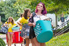 Incoming freshmen honors student Sarah Wallace, International Studies from Gilbert, WV moves into Lincoln Hall. Sarah is assisted by WVU student hotshots, August 11, 2017. Photo Greg Ellis